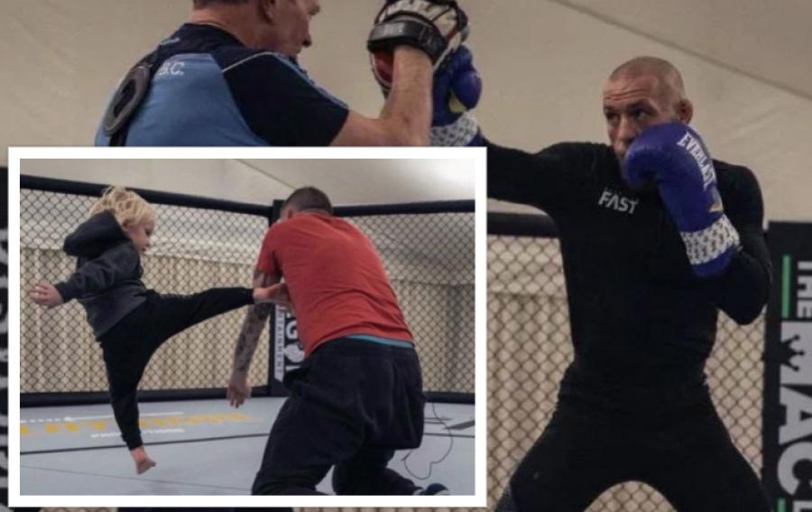 کانر مک گرگور در حضور پسرش ، ستاره UFC ، آماده دوئل 23 ژانویه تمرین می کند