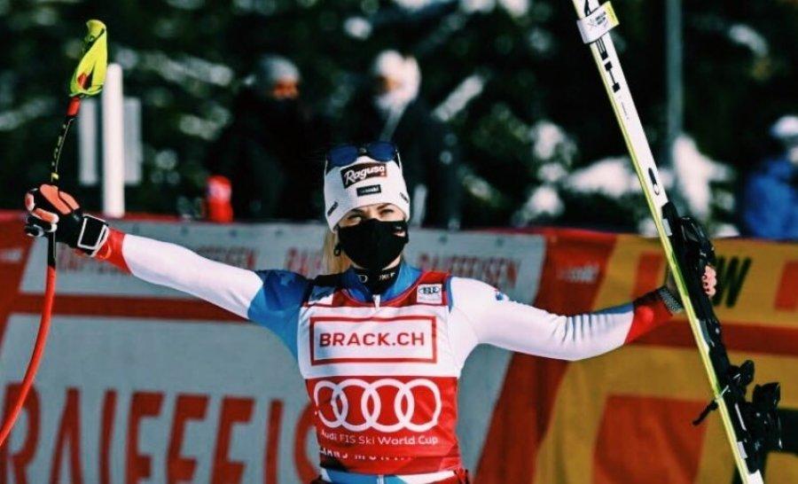 همسر والون بهرامی ، لارا ، برنده مسابقه بزرگ اسکی Super-G اعلام شد